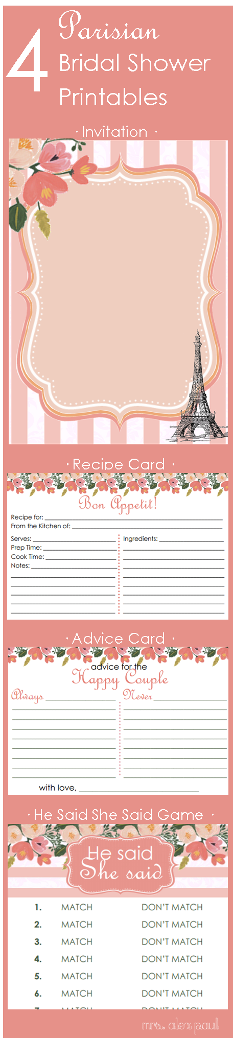 4 Parisian Bridal Shower Printables