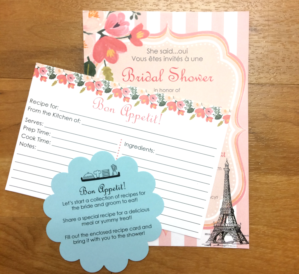 Parisian Bridal Shower Invite and Recipe Card