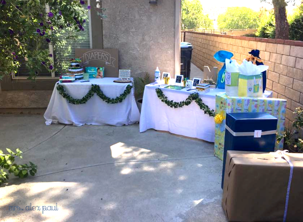 Baby Shower Diaper and Gift Table