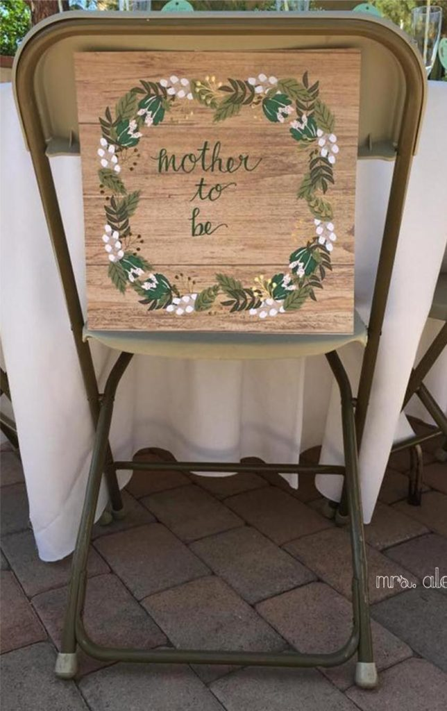 Mother to be Sign on Chair