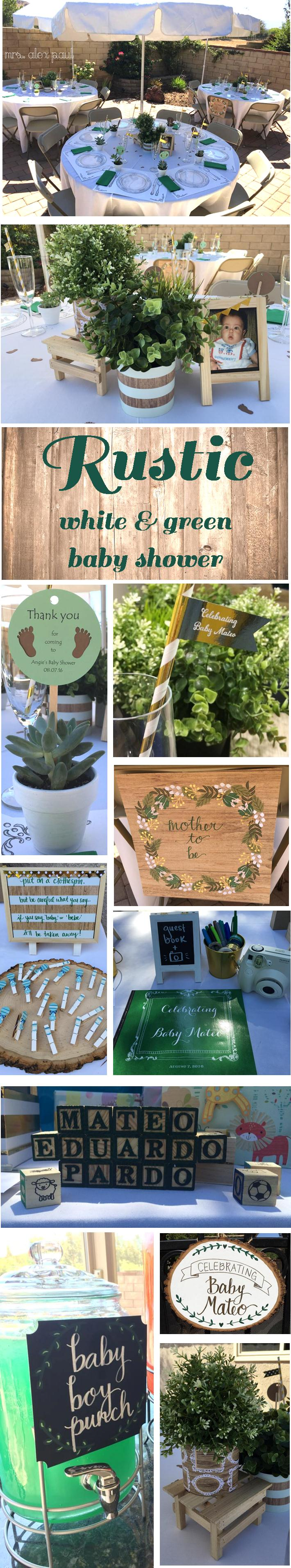 Rustic White and Green Baby Shower