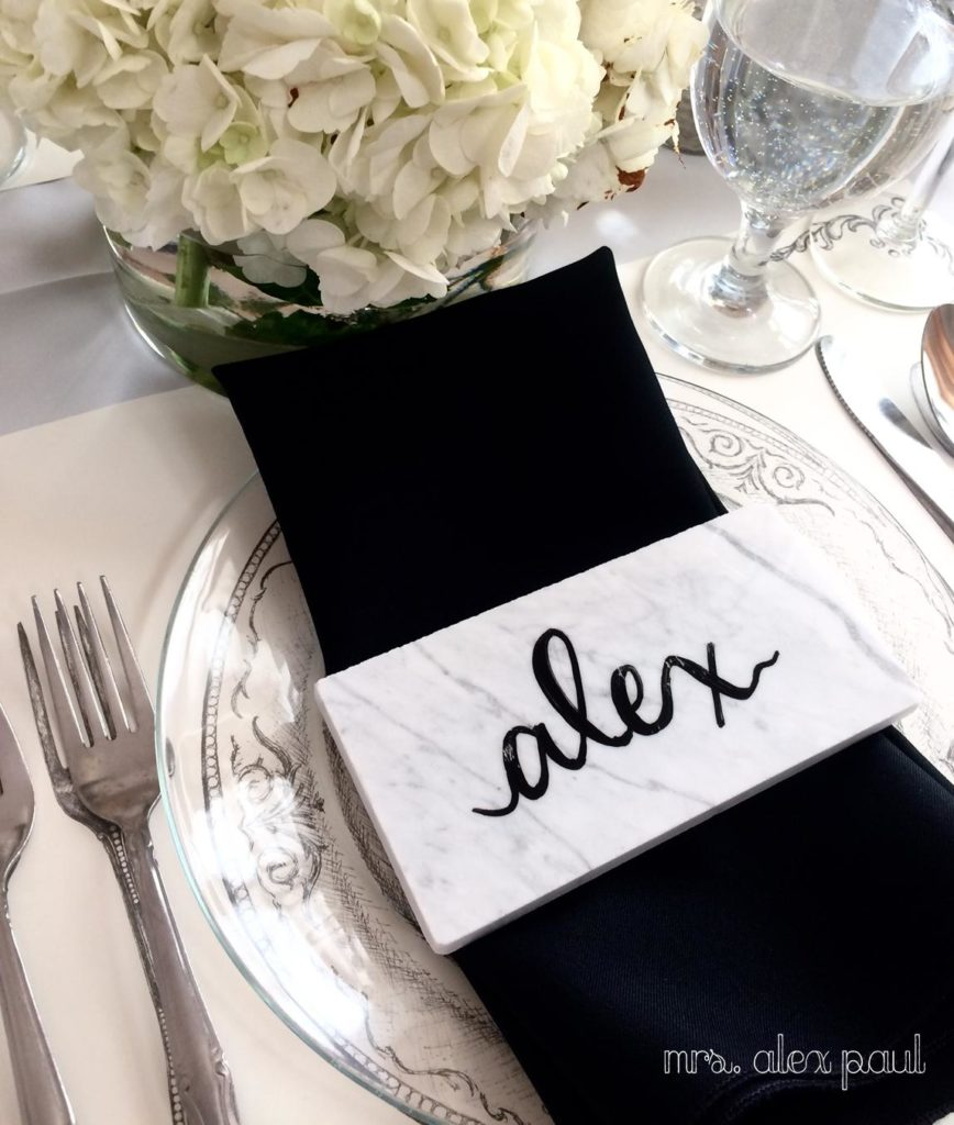 I Also Wanted To Keep The Black And White Theme With A Marble Placecard These Are Actually Subway Tiles From Hardware Less Than 1 Each